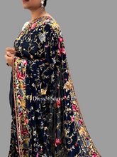 Load image into Gallery viewer, Midnight Blue Multicolour Parsi Gara Saree - Dress365days
