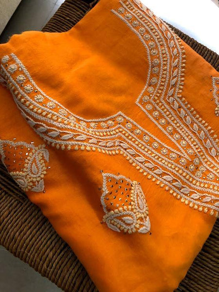 Chanderi Chikankari and Mukaish Work Suit