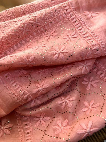 Peach Chikankari and Mukaish Chanderi Suit