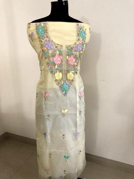 Organza Chikankari and Beads Kurti Fabric