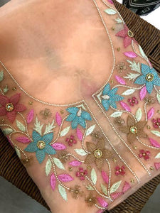 Organza Beads and Chikankari Kurti Fabric