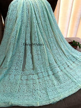 Load image into Gallery viewer, Sea Green Hand Embroidered Net Chikankari Anarkali - Dress365days
