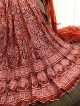 Load image into Gallery viewer, Terracotta Handcrafted Chikankari and Kamdani Anarkali Suit