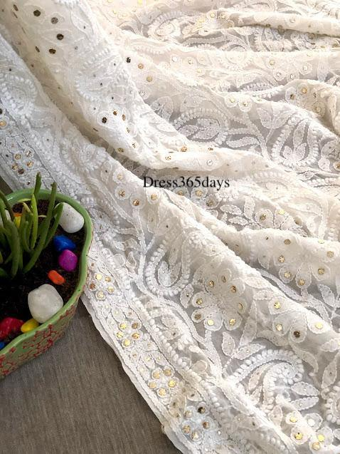 Ivory Kamdani Lucknowi Chikankari Dupatta - Dress365days
