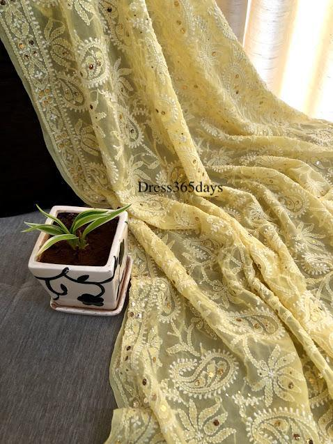 Yellow Kamdani Chikankari Dupatta - Dress365days
