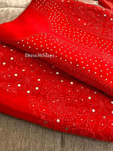 Load image into Gallery viewer, Red Georgette Mukaish Lucknowi Suit