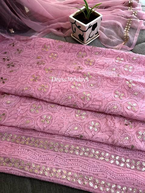 Pink Gota Patti Lucknowi Chikankari Suit - Dress365days