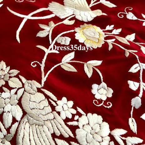 Red & Ivory Hand Embroideed Parsi Gara suit (Three Piece) Pre Order