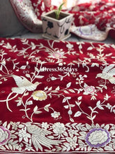Load image into Gallery viewer, Red & Ivory Hand Embroideed Parsi Gara suit (Three Piece) Pre Order
