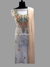 Load image into Gallery viewer, Organza Multicolour Neckline Chikankari Suit with Pearls - Dress365days