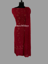 Load image into Gallery viewer, Maroon Mukaish Chikankari Suit - Dress365days
