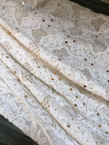 Lucknowi Chikankari Dupatta With Golden Mukaish