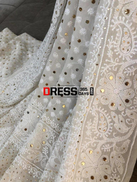 All Over Front And Back Chikankari Suit With Embroidered Dupatta Suits