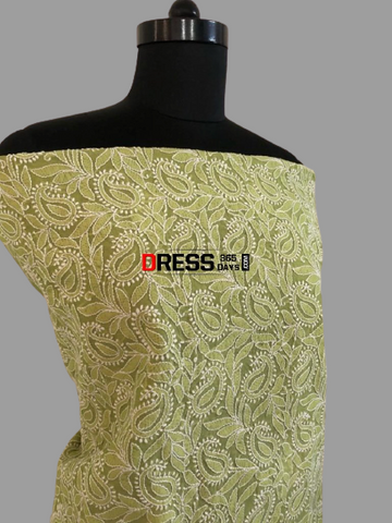 All Over Jaal Work Chanderi Chikankari Kurti Fabric