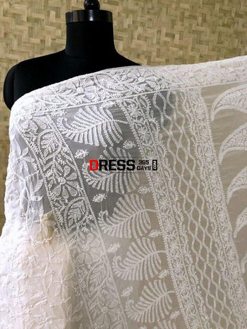 All Over Work Lucknow Chikan Saree Chikankari