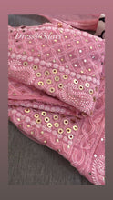 Load and play video in Gallery viewer, Peach Ring Mukaish Chikankari Anarkali Suit