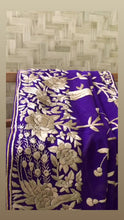 Load and play video in Gallery viewer, Purple & Gold Hand Embroidered Parsi Gara Dupatta