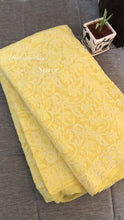 Load and play video in Gallery viewer, Yellow Lucknowi Chikankari Saree