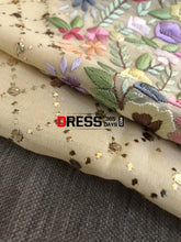Load image into Gallery viewer, Beige All Over Mukaish Parsi Gara Suit Chikankari Suits