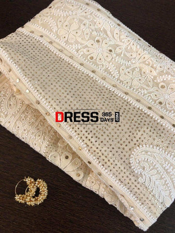 Beige Hand Embroidered Mukaish Chikankari Anarkali Suit
