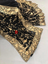 Load image into Gallery viewer, Black And Gold Hand Embroidered Parsi Gara Saree Saree