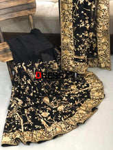 Load image into Gallery viewer, Black And Gold Hand Embroidered Parsi Gara Saree