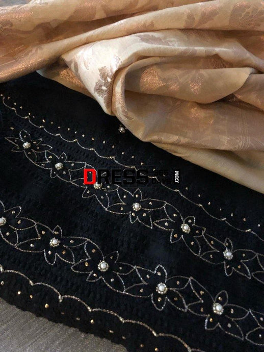 Black Organza Beads Chikankari Suit With Heavy Banarasi Dupatta Suits