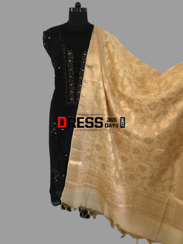 Black Organza Beads Chikankari Suit with Heavy Banarasi Dupatta