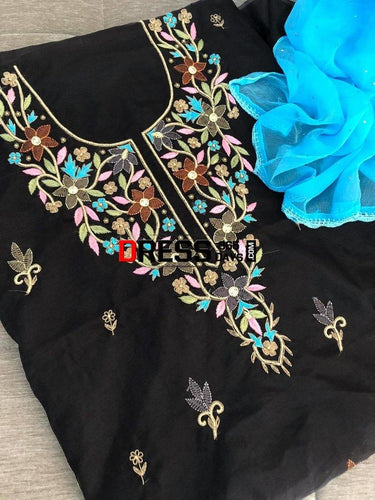 Black Organza Multicolour Chikankari Suit Suits