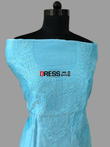 Blue Chanderi Chikankari And Mukaish Suit (Kurta And Dupatta)