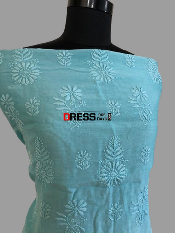 Bluish Green Chanderi Chikan Work Suit (Kurta and Dupatta)