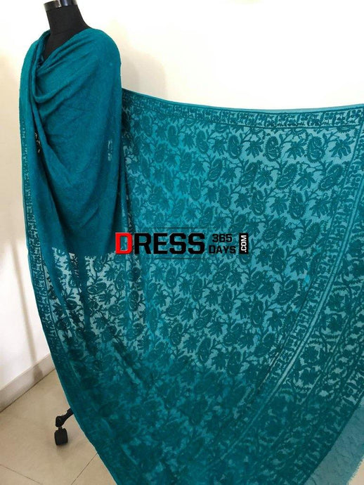Bottle Green Lucknow Chikankari Dupatta