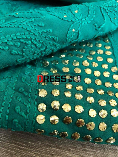 Bottle Green Lucknow Chikankari Mukaish Suit Suits