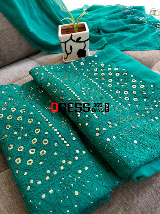 Bottle Green Ring Mukaish Lucknow Chikankari Suit Suits