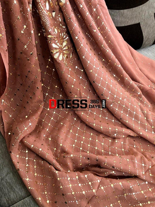Brown Kamdani Work Suit Chikankari Suits