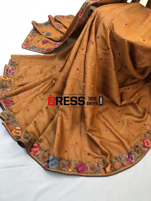 Brown Tussar Silk Hand Embroidered Parsi Gara Saree