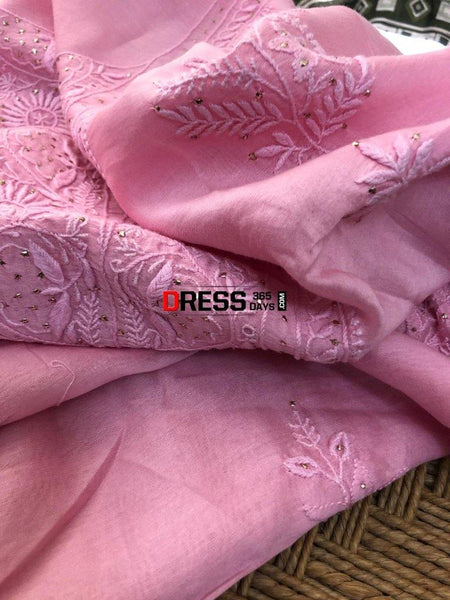 Chanderi Mukaish Chikankari Suit Suits