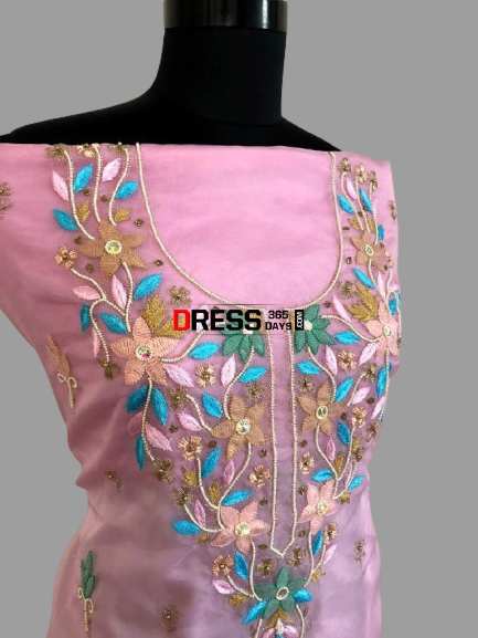 Chikankari and Beads Organza Kurti Fabric