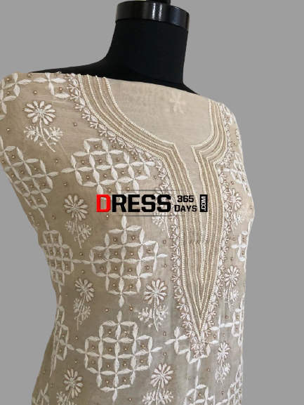 Chikankari Beads Aari Zari Chanderi Suit - Dress365days