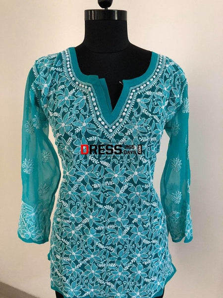 Blue Georgette Tops