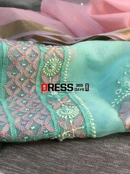 Chikankari Suit With Multicolour Embroidery-Organza Suits