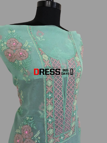 Chikankari Suit with Multicolour Embroidery-Organza