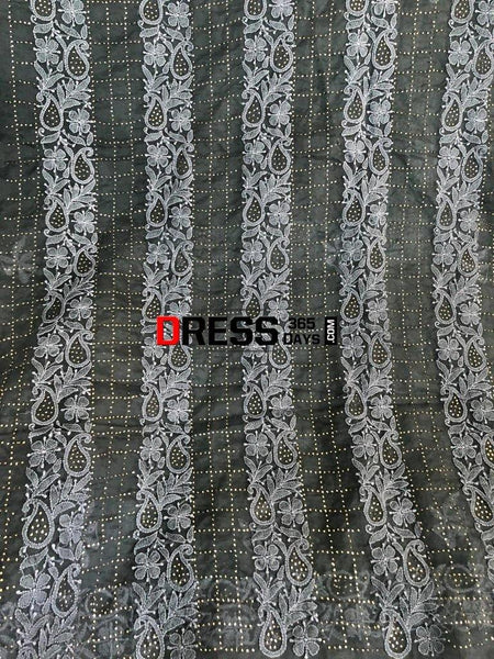 Dark Grey Mukaish Chikankari Kurta Dupatta Suits