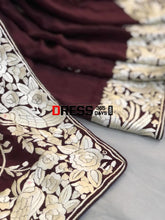 Load image into Gallery viewer, Deep Maroon & Ivory Parsi Gara Saree
