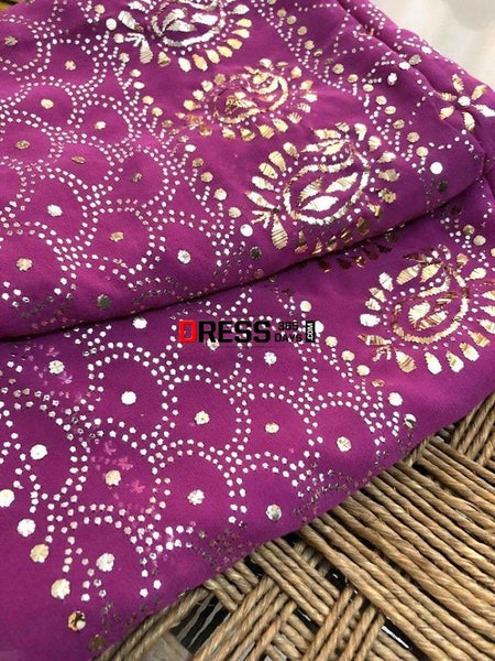 Deep Purple All Over Mukaish Chikankari Suit Suits
