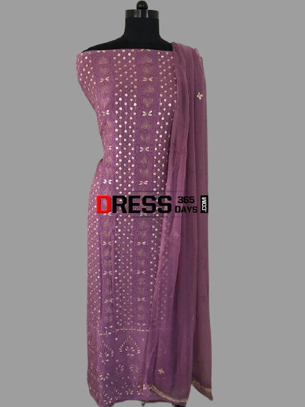 Dusty Mauve Gota Patti Chikankari Suit