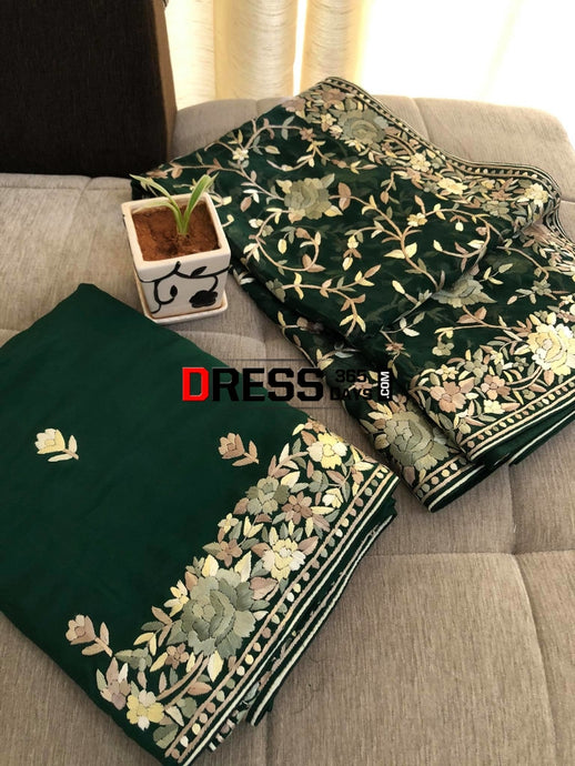 Emerald Green Hand Embroidered Parsi Gara Three Piece Suit Suits