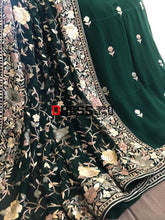 Load image into Gallery viewer, Emerald Green Hand Embroidered Parsi Gara Three Piece Suit Suits