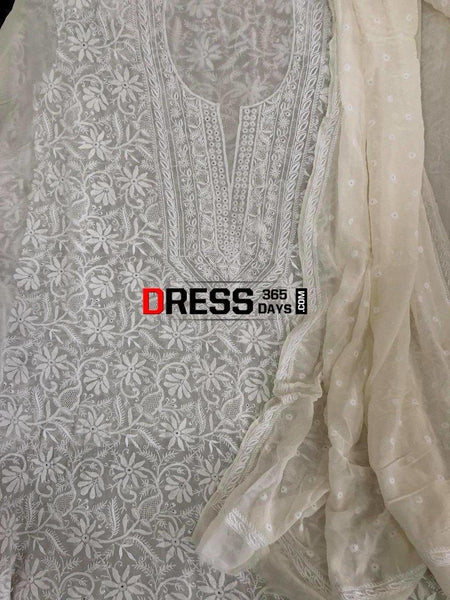 Front Back Hand Embroidered Chikankari Suit Suits