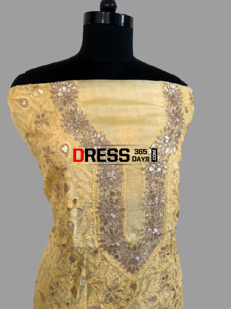 Golden Yellow Gota Patti Chikankari Kurti Fabric